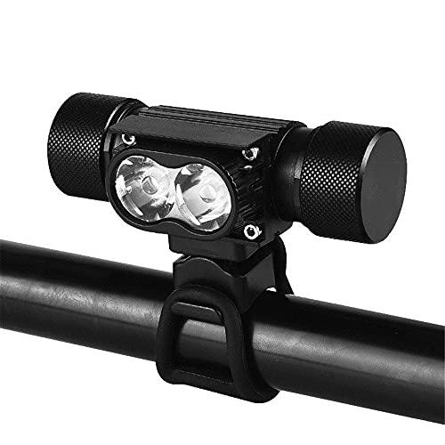 Jumaomaoyi - Lámpara de doble potencia 2T6 con luz de bicicleta de montaña, luz LED para exteriores, multifunción, color negro
