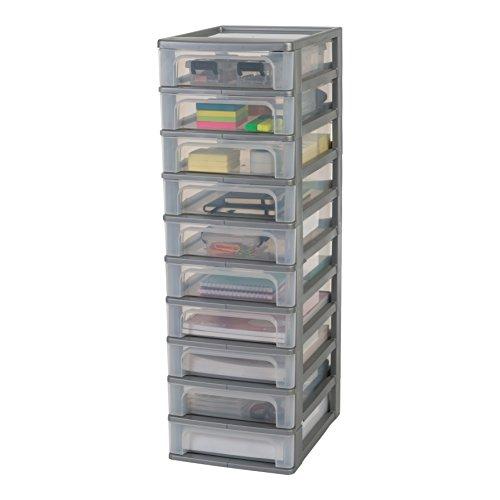 Marchio Amazon - Iris Ohyama torre di stoccaggio 10 cassetti - Organizer Chest - OCH-2100, plastica, argento / trasparente, 40 L, 26 x 35.5 x 81.5 cm