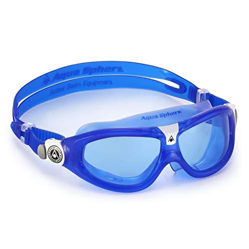 Aqua Sphere Unisex-Youth Seal Kid 2 Schwimmmaske, blau weiß/blaues Glas, Einheitsgröße