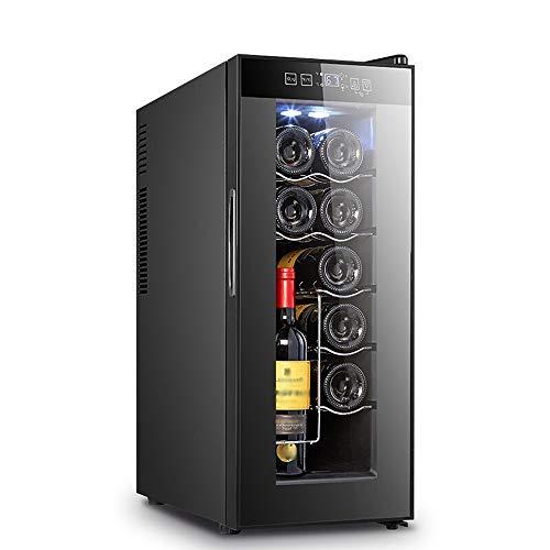 Xiao huang li Wijnkoeler, wijnkoeler, koelkast, 12-fles, wijnkelder, stand-alone enkele zone, koude wijnklimaatregeling, voor rode wijn en witte wijn, afmetingen 25 x 50 x 63 cm, vermogen 65 W, zwart