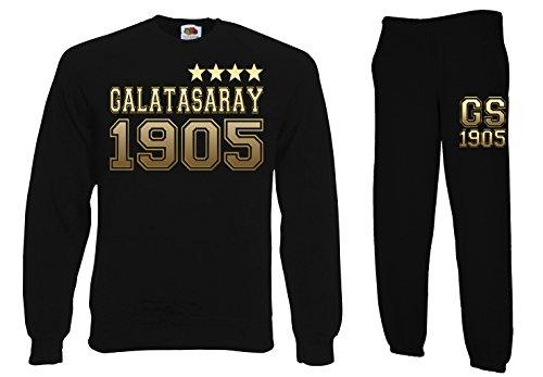 TRVPPY Herren 2er Set Pullover + Jogginghose Galatasaray Istanbul Sterne, Schwarz, L