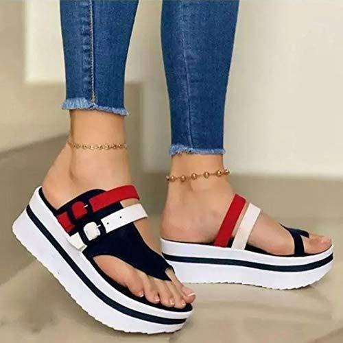 HOOJUEAN Sandalias para Mujer Flips Flops Cómodas Zapatillas de Plataforma Cómodas señoras Verano Playa Corrector juanetes ortopédico Resbalón en cuña Zapatos Antideslizantes casualesBlue-39