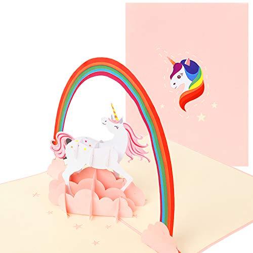 PaperCrush® Pop-Up Karte Einhorn - 3D Geburtstagskarte Unicorn, Süße Einhornkarte für Kinder Geburtstag, Teenager oder Beste Freundin - Handgemachte Glückwunschkarte zum Kindergeburtstag für Mädchen