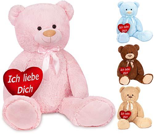 Brubaker XXL Teddybär 100 cm Rosa mit einem Ich Liebe Dich Herz Stofftier Plüschtier Kuscheltier