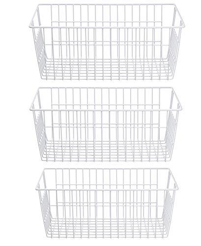 SANNO Farmhouse Organizer Storage Bins Große Organizer Bins für Kühlschrank Gefrierschrank, Büro, Bad, Speisekammer Organisation Storage Bins Rack mit Griffen, 3er-Set