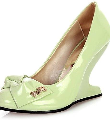 Ggx femmes Cuir verni Chaussures d'été Bout Rond talons talons Bureau & carrière décontracté Talon compensé Bowknotbleu vert rose