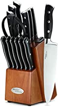 Marco Almond KYA32 Japanese Stainless Steel Knives Set, 14 Pieces Cutlery Set Kitchen Knife Set with Block, Built in Sharpener, Forged Triple Rivet with endcap Handle Knife Block Set, Cherry Block