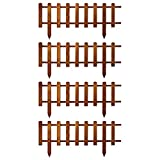 Floranica® Vorgarten Zaun aus Holz | Modell 2021 | wetterfest imprägniert - Steckzaun | Minizaun | Zierzaun als Gartenzaun | Lattenzaun, Farbe:Braun, Größe:4 STK. 104cm lang / 40cm hoch