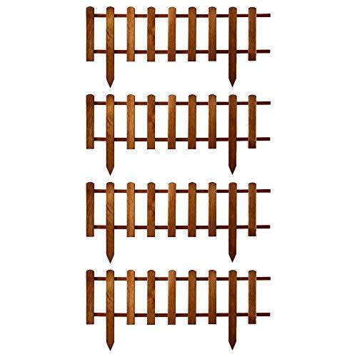 Floranica® Barrière en Bois Devant | Nouvelle Version 2021| clôture de Jardin | de Planter | Bordure | palissade - imprégnée imperméable, Couleur:Brune, Taille:4 pcs. Longitud 104cm / Hauteur 30cm
