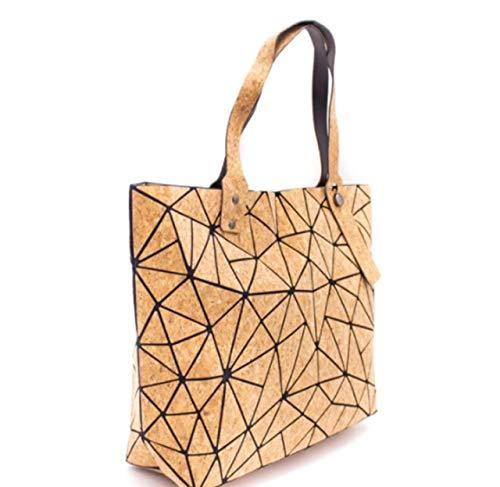 Only50 Bolso Geométrico shopper vegano de Corcho Natural para Mujer, 37 x 13 x 25 centímetros, Bolso Ecológico Efecto Madera. Hecho a mano.