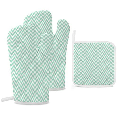 Soportes para ollas y guantes de horno, juego de cocina resistente al calor de 3 piezas para cocinar y hornear, diseño de zigzag de chevron, color verde menta