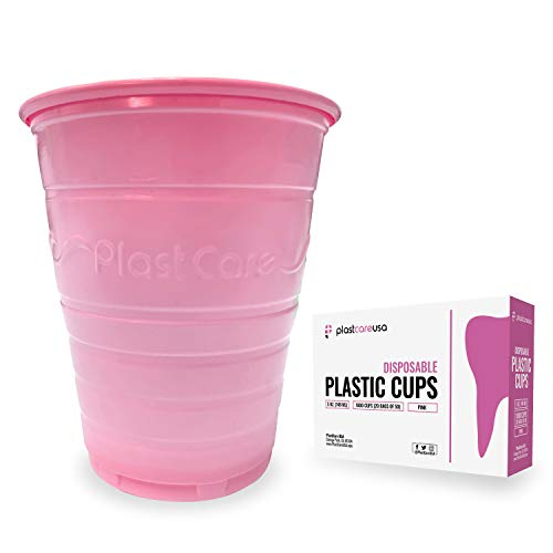 1000 Pink 5 Ounce Dental Rinse Plastic Disposable Ribbed Drinking Cups