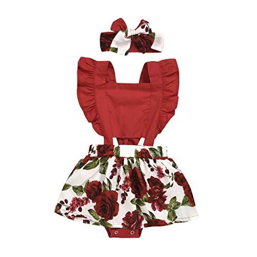 Baby Mädchen Bedrucktes Kleid Jumpsuits Rock Strampler Einteilige Kleidungsstück Kopfbedeckung Haarband Zweiteiliger Anzug, Rot, 6-12 Monate
