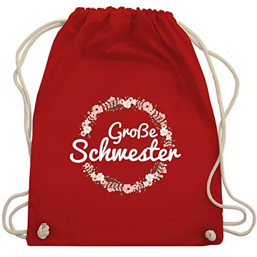 Shirtracer Geschwister Bruder und Schwester - Große Schwester Blumenkranz - Unisize - Rot - geschwister geschenke - WM110 - Turnbeutel und Stoffbeutel aus Baumwolle