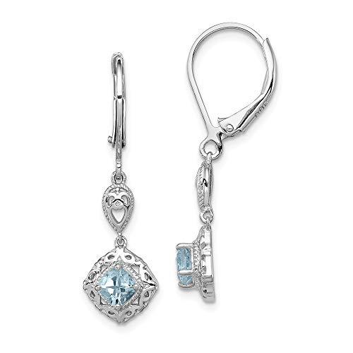 Pendientes de plata de ley 925 bañados en rodio con diamante y palanca de aguamarina