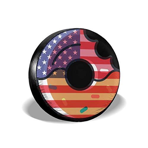 Hokdny Cubierta del Neumático De Repuesto Cubierta De La Rueda del Neumático Cubiertas del Tráiler De La Bandera De Donut and US 14 15 16 17 Pulgadas