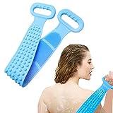 johiux spazzola da bagno in silicone, 80 * 12 cm scrubber posteriore per doccia spazzola per il corpo in silicone per bagno esfoliante. (blu-80cm)