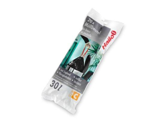 Hailo Müllbeutel C, 30 Liter, 20 Stück, Farbe: schwarz, reißfest - mit Zugband, flüssigkeitsdicht, 0030-00