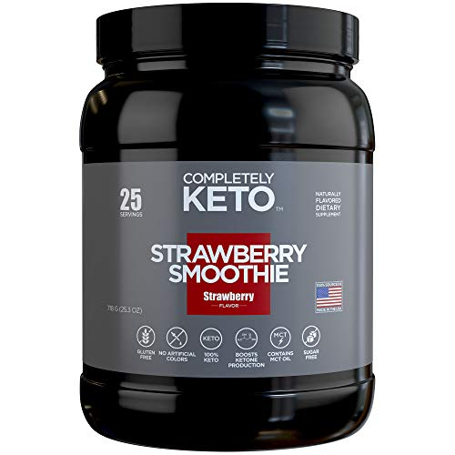 Completely Keto Shake Meal Replacement Powder for Weight Loss - Low Carb Smoothie Mix Alternative to Protein Shakes, Strawberry Flavor
