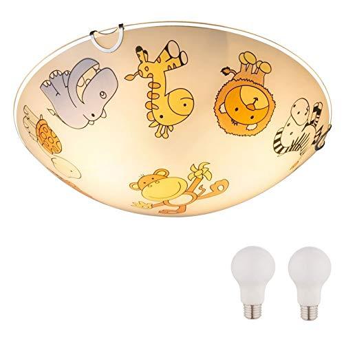 Kinderzimmerlampe 30 cm mit LED Lampen Mädchen Junge Kinderlampe Glas Zoo Tiere (Bunte Deckenlampe, Kinderzimmer, 2 x 9 Watt, Warmweiß, E27 Fassung)