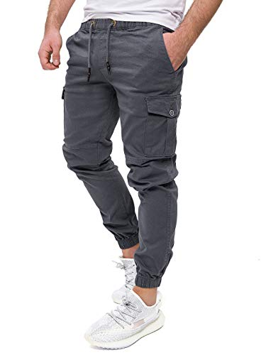 PITTMAN Herren Cargohosen Darius - Pants by Pit Jeans - graue Cargo Hose - anthrazit Jogginghosen Männer Chino, Grau (Tornado 183907), W33/L32