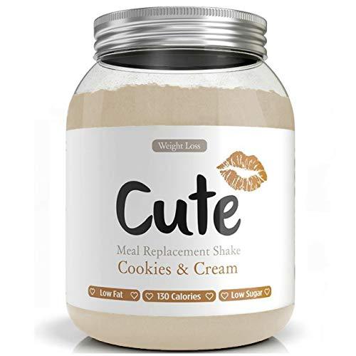 Cute Nutrition Batido Sabor Galletas y Crema para el Control de la Pérdida de Peso en Polvo Bebida Dietética para Mujer Bote de 500 g