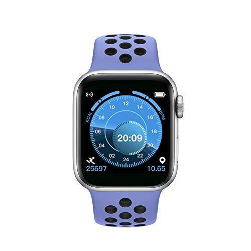 Jorwell 2020 Nueva Pulsera Inteligente, Pantalla Táctil Completa Bluetooth Llamadas De Reloj, Podómetro Tarifa Cardíaca Presión Arterial Salud Deportes Reloj Deportivo,Purple+Silver