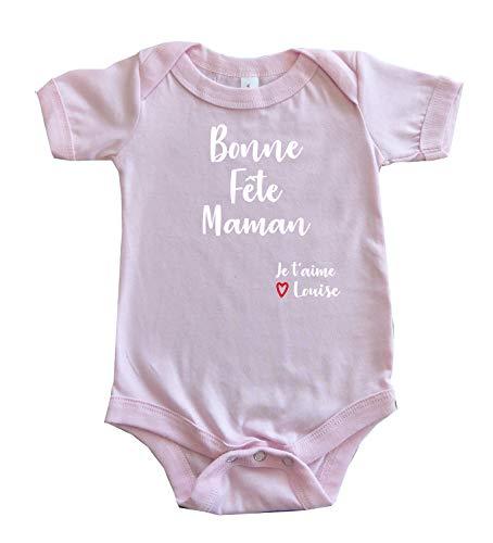 DSTNY Body Bébé Bonne Fête Maman Je t'aime + PRÉNOM à Personnaliser Rose 6-12 Mois