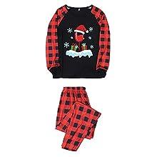 KMKM Pijama de Navidad para toda la familia, para mamá/papá/niño, de manga larga, pijama de Navidad de punto de rejilla a juego, rojo, XL