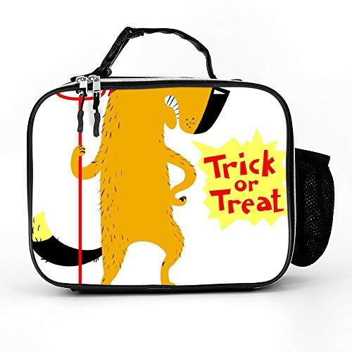 happygoluck1y Halloween Hond Karakter In Kostuum Van Duivel Met Lunch Tassen Geïsoleerde Rits met Zakken Draagbare Lunch Box voor Vrouwen Voor Werk Voor Kinderen