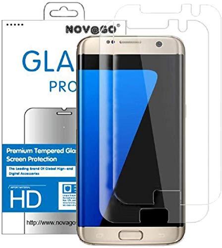 NOVAGO Compatible Samsung S7 Edge- Pack de 2 Films Protection écran Verre trempé résistant modèle Compatible Coque et Housse (Transparent)