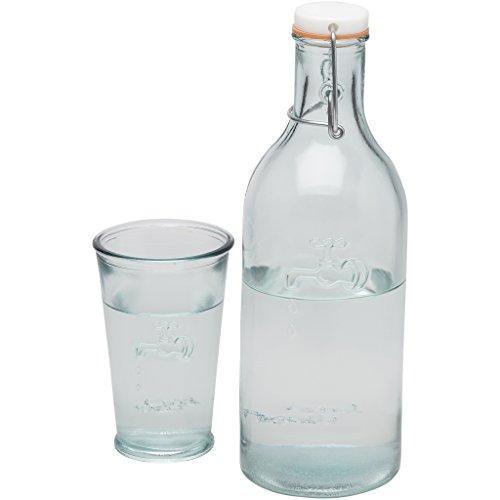 Jamie Oliver Wasserflasche + Wasserglas aus Recyclingglas