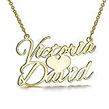 LONAGO Collar personalizado con nombre chapado en oro con dos nombres para regalo de cumpleaños, aniversario, boda, madre, esposa, hija, novia, mujer