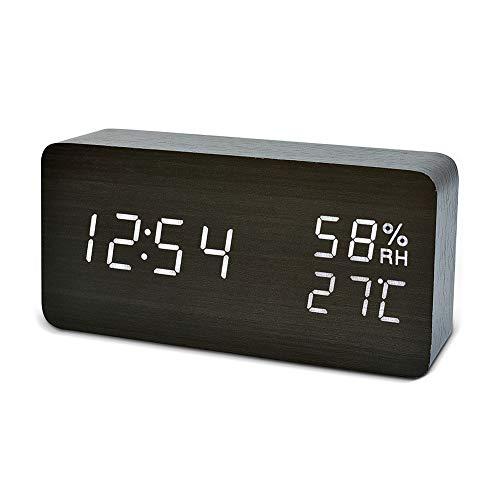 Qansi 目覚まし時計 LEDデジタル時計 大音量 木目調 おしゃれ 置き時計 カレンダー付き アラーム機能 明るさ調節 音声感知 温度表示 USB/乾電池対応(ブラック)