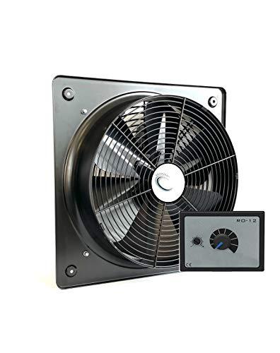 Uzman-Versand KSA-350 Ventilatore assiale radiale industriale, da parete, 350 mm, con regolazione di velocità, 500 Watt, in metallo, per finestra, bagno, cucina, aerazione industriale, aspirazione