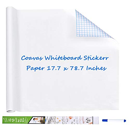 Coavas Whiteboard Sticker Paper Self-Adhesive Dry Erase Board Peel and Stick Wall Stick Paper White Board Wall Sticker for Kids Home Schooling Office Homeworking 1 Blue Marker 17.7x78.7 Inches