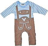 Baby-Strampler Lederhosen Design, Farbe Blau, Applikationen, Geschenkidee, Geburt, Erstausstattung, Body Größe 74