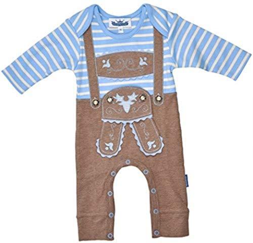 Baby-rompler leren broek design, kleur blauw, applicaties, cadeau-idee, geboorte, originele uitrusting, body