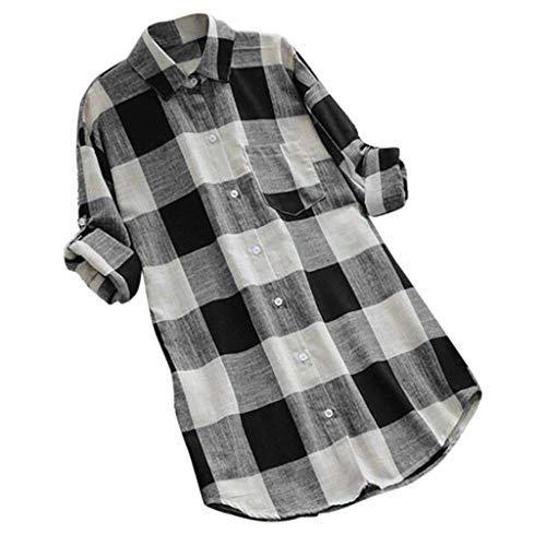 MRULIC Damen Langgitter Langarm Knöpfe Lässige Tops T-Shirt Bluse Frauen Knopf Oben Arbeitshemd Tunics(Schwarz,EU-38/CN-M)