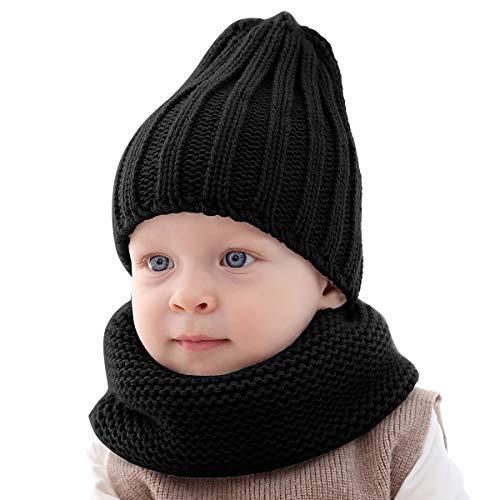 Puseky 2 stuks peuters babymuts sjaal set gebreide warme muts muts skihoed en halswarmer voor jongens meisjes