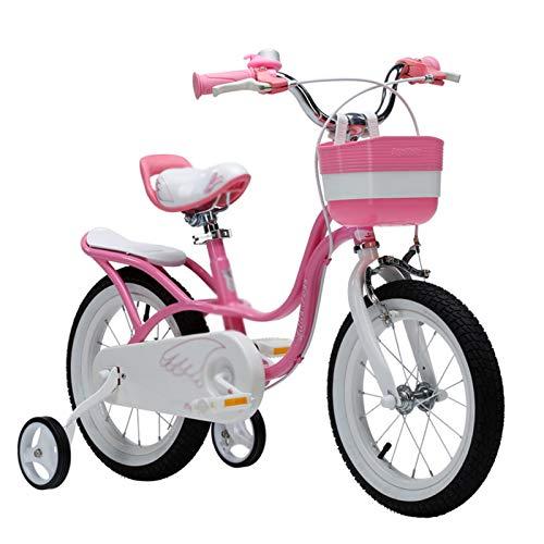 Kids Bikes Chunlan Bicicleta Chica Al Aire Libre Rosado Princesa Bicicleta para Niños Altura Ajustable Rueda De Entrenamiento/Freno/Campana 12/14/16/18 Pulgadas(Size:18inch)