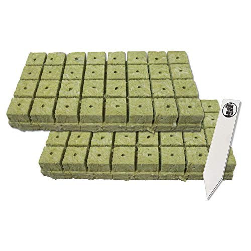 1.5' Rockwool Starter Plugs, 2 Sheets of 32 Plugs (64 Plugs Total) + 1 THCity Stake