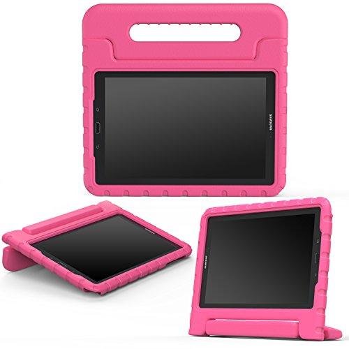 MoKo - Funda para Samsung Galaxy Tab A 10.1 con S Pen, a prueba de golpes, asa convertible, peso ligero, soporte protector para tablet Samsung Galaxy Tab A de 10.1 pulgadas (versión SM-P580/SM-P585 S), color magenta