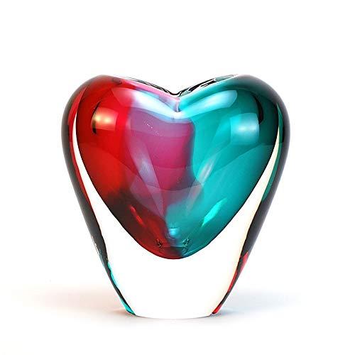 "Murano Glass Design Crystal Heart Vase Aqua Ruby 7"" Ht. 6"" Length"