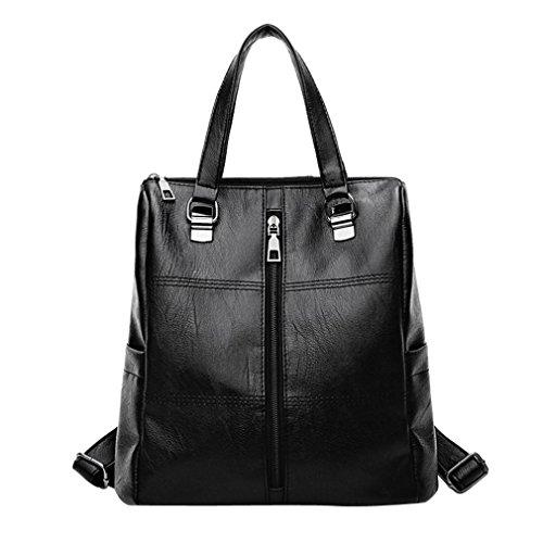 ALIKEEY 2018 Vintage Girl Leather School Bag Mochila Satchel Mujeres Viaje Bandolera Con Cremallera De Cuero SóLido Sn Para Mujer Original En Gorjuss Carteras Tela Imitacion Luis Negros (Negro)