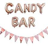 Ouceanwin Accesorios para Candy Bar de oro rosa, globos gigantes y 12 banderines brillantes para bodas, fiestas, Navidad, cumpleaños, decoración de eventos