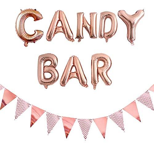 Ouceanwin Accesorios para Candy Bar de oro rosa, globos