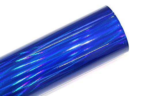Finest Folia (19,73€/m²) Laser Hologram Chrom Blau Auto Folie mit Luftkanäle Holographic (50 x 152cm)