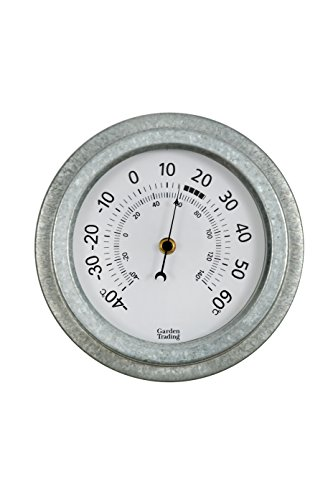 CKB LTD Vintage Outdoor Wall Garden Thermometer | Indoors and Outdoor Made with Weatherproof Galvanised Steel | Traditional Analogue Dial Display | Wall Mounted ideal for a Patio Greenhouse Office