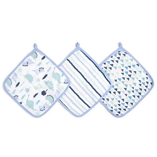aden by aden + anais débarbouillettes pour la toilette en mousseline 100% coton, dinos 3-pack
